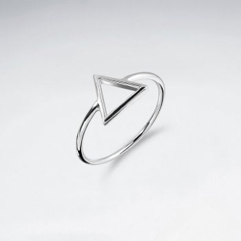 Geometric Sterling Silver Open Triangle Ring
