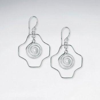 Geometric Swirl Silver Earring