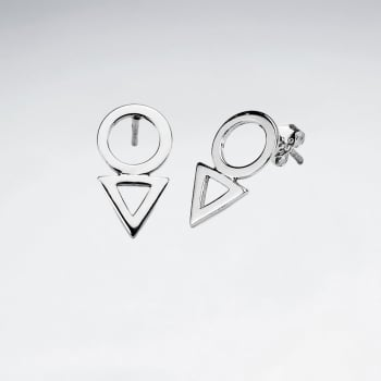 GeoMix Modern Glam Sterling Silver Openwork Drop Stud Earrings