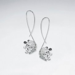 Glamorous Modern Floral Blossom Sterling Silver Drop Hook Earrings