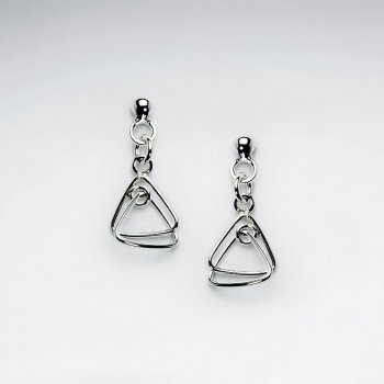 Glamorous Open Triangle Duo Suspended Silver Dangle Earrings