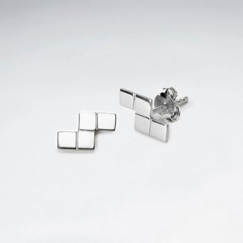 Glamorous Sterling Silver Geometric Style Stud Earrings