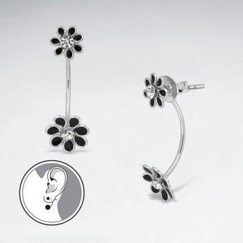 Glamorous Stud Enamel Silver Drop  Flower Earrings