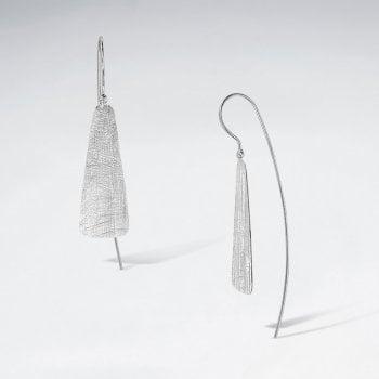 Glamorously Modern Organic Textured Brushed Dangle Hook Earrings