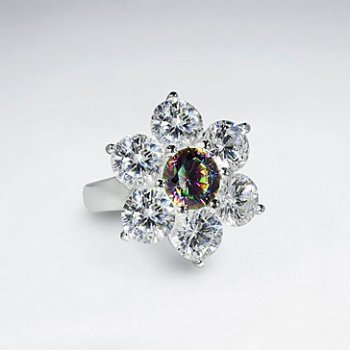 Glistening Multi Color Cubic Zirconia Silver Flower Ring