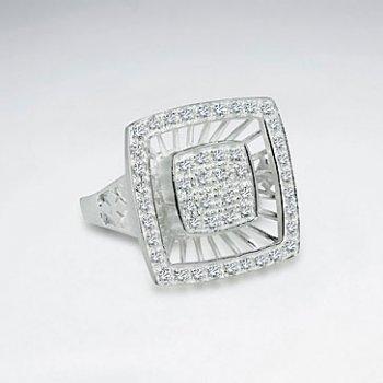 Glittering Cubic Zirconia Square Silver Dimension Ring