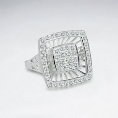 Glittering Cubic Zirconia Square Silver Dimension Ring