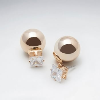 Gold Tone Ball and Square Cut Crystal Stud Brass Earrings