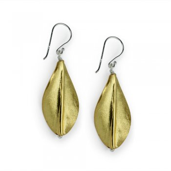 Gold Tone Leaf Drop Earrings