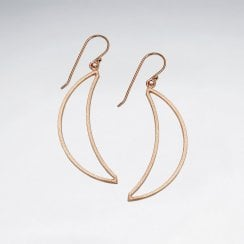 Gold Tone Silver Crescent Moon Dangle Earrings