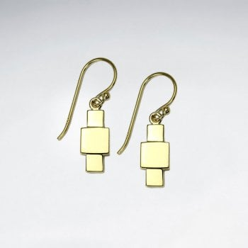 Gold Tone Silver Modern Abstract Drop Earrings