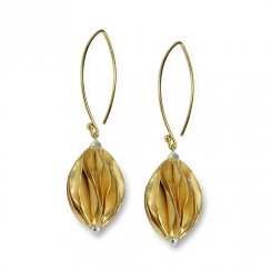 Gold Tone Sterling Silver Carambola Bead Link Dangle Earrings