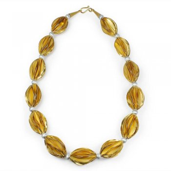 Gold Tone Sterling Silver Carambola Bead Link Necklace