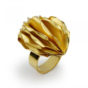 Gold Tone Sterling Silver Carambola Ring