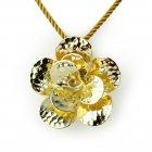 Gold Tone Sterling Silver Fancy Hammered Finish Flower Bloom Pendant