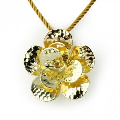 Gold Tone Sterling Silver Fancy Hammered Finish Flower Bloom Pendant