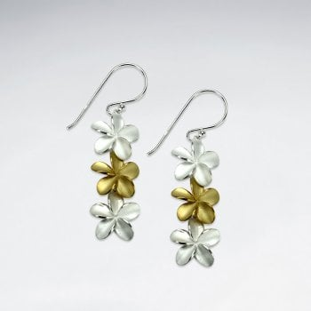 Gold Tone & Sterling Silver Hawaiian Flower Earrings