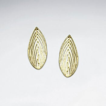 Gold Tone Sterling Silver Organic Leaf  Earrings