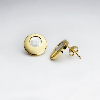 Goldtone Stainless Steel Circles Earrings
