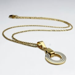 Goldtone Stainless Steel Open Circle Charm Necklace