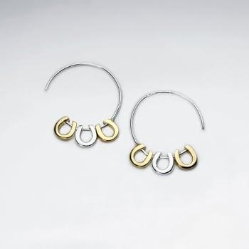 Good Luck Charm Triple Horseshoe Half Hoop Earrings