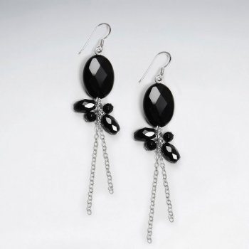 Gorgeous Faceted Black Oval Gemstone and Cluster Earrings With Silver Chain