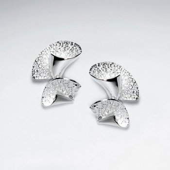 Gorgeous Silver Textured Lilly Style Double Drop Earrings