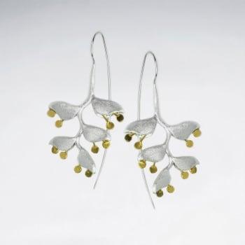 Gorgeous Silver Threader Leaf Chandelier Dangle Earrings