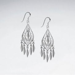 Graceful Chandelier Pear Drop Earrings in Silver