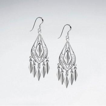 Graceful Chandelier Pear Drop Earrings in Silver
