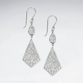Graceful Diamond Shaped Chandelier Double Tiered Dangle Earrings