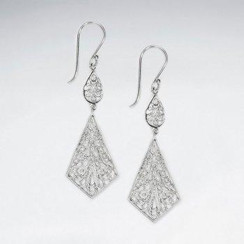 Graceful Diamond Shaped Chandelier Double Tiered Dangle Earrings