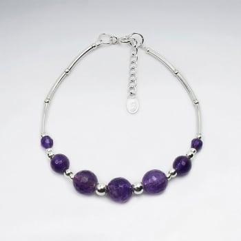 Gradual Amethyst Ball Charm Bracelet