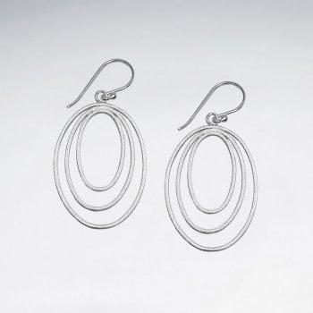Gradual Openwork Sterling Silver Oval Earrings