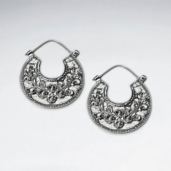 Greek Leaf Groove Pattern Silver Textured Disc Earrings