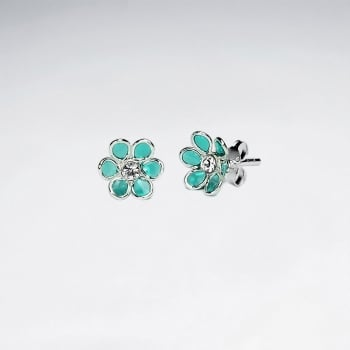 Green Blossom Daisy Enamel Silver Stud Earring With White CZ