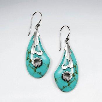 Green Howlite Silver Earring
