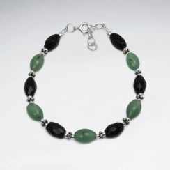 Green Jede & Black Stone Faceted Bead Bracelet