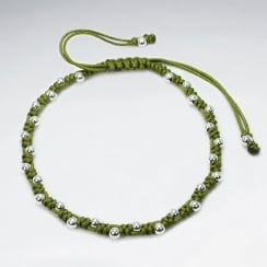 Green Nylon Bead Ball Wrap Bracelet