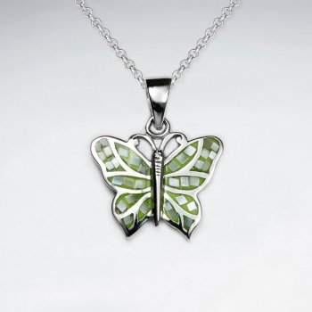 Green Shell Butterfly Silver Pendant