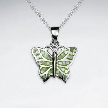 Green Shell Butterfly Silver Pendant