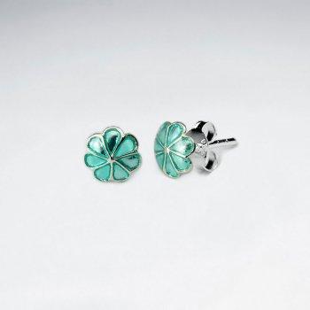 Green Six Petals Enamel Silver Stud Earring
