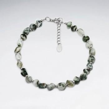 Green Spot Stone & Sterling Silver Bracelet