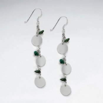 Green Turquoise Silver Cascade Dangle Earrings