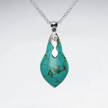 Green Turquoise Silver Pendant