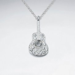 Guitar Cubic Zirconia Studded Silver Pendant