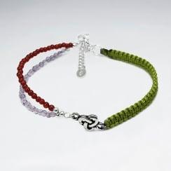 Half & Half Rainbow Tribe Carnelian & Amethyst Nylon Bracelet