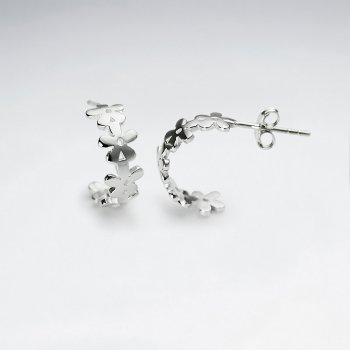 Half Hoop Flower Silhouettes Sterling Silver Earrings