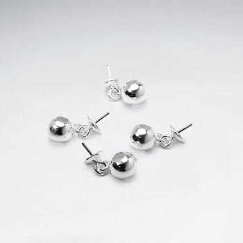 Hammered Ball Charm Sterling Silver Stud Earrings Pack Of 20 Pieces