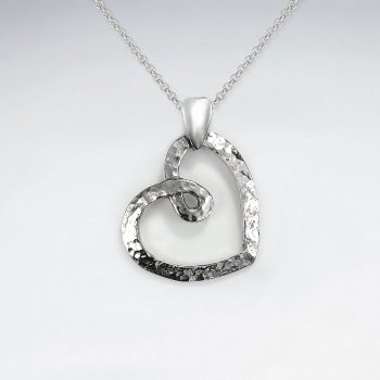 Hammered Open Heart Silver Pendant